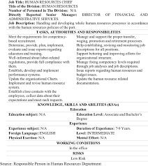 Work Description Form Preconditioned Job Description Form Of Human Resources Chief