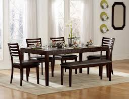 espresso finish modern dining table woptional chairs  bench