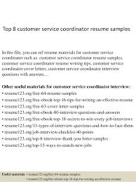 Care Coordinator Cover Letter Top 8 Customer Service Coordinator Resume Samples