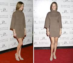 Hillary Swank Hilary Swank With Her Hair Cut In A One Length Bob And Wearing A