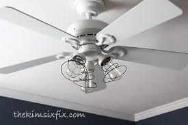 industrial ceiling fan makeover using vintage mattress springs