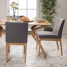 le house caruso dark grey fabric oak dining chair set of gray