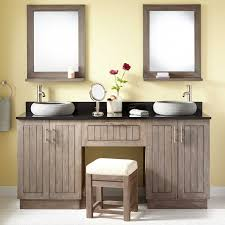 Teak Vanity Bathroom Teak Double Vessel Sink Vanity With Makeup Area Gray Wash Bathroom