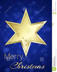 Goldener Weihnachtsstern Auf Blauem Bokeh Hintergrund Stock