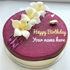 Rose Flavored Birthday Cake With Sister Name