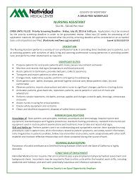 Cna Description For Resumes Selo L Ink Co With List Of Nursing