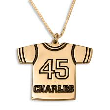 sports jersey name number necklace 24k gold plated