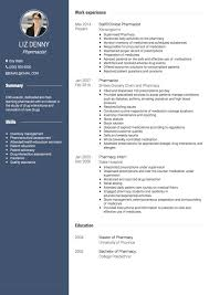 Pharmacist Resume Sample Impressive Pharmacist CV Examples And Template