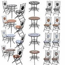 Garden & <b>Patio Furniture</b> Set of <b>2</b> Mosaic Folding Bistro Chairs <b>2 pcs</b> ...