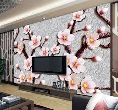 Beibehang Custom Wallpaper Hd Relief 3d Pruimenbloesem Tv