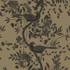 Bolcom Origin Behang Vogel Gravure Glanzend Goud 347473