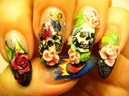 my ed hardy design love makeup pop out acrylic nail designs