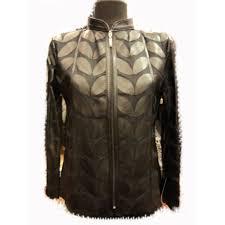 handmade short zipper light lightweight womens meshed stylish very soft genuine lambskin black leather leaf jacket for women all regular and plus sizes