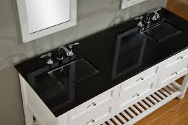 picture of 70 pearl white mission spa double vanity sink cabinet with black granite