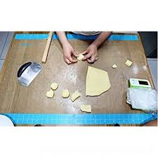 dltsli silicone pastry mat with measurements 36 x 24 full sticks to countertop for rolling dough