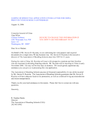 Cover Letter For Visa Application The Letter Sample