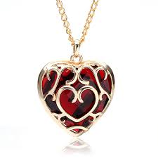 big red crystal heart shaped pendant necklace gold plated women jewelry