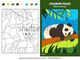 Wild Animals Coloring Page Kids Panda Stock Vector Royalty Free