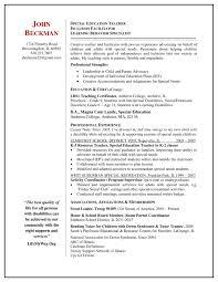 Resume Sample Special Education Teacher Inspirationa Special