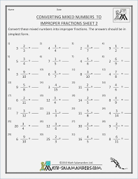 Changing Mixed Numbers to Improper Fractions Worksheet – careless.me