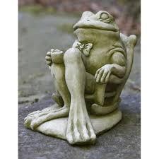 campania international coffee break frog cast stone garden statue