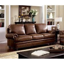 furniture of america carson leather sofa in dark brown