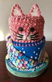 Cake Designs Birthday Girl Kitty And Mermaid Cake Adrienne Co Bakery Birthday Cake