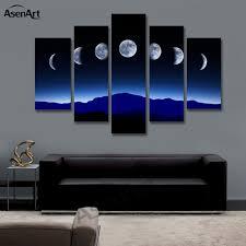 bedroom wall art canvas. Exellent Bedroom 5 Panel Dark Moon Picture Mountain Night Landscape Painting For Bedroom  Wall Art Canvas Prints No And S