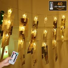 Battery Operated Indoor Lights Gym Heroes Photo Clips String Lights 20 Ft 40 Led Battery Operated Indoor Fairy String Lights For Hanging Photos Pictures Cards And Memos For Dorms
