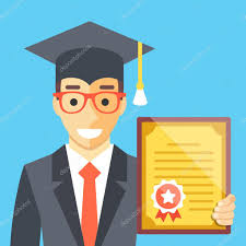 graduated man diploma in his hand flat illustration stock  graduated man diploma in his hand flat illustration stock vector 97880748