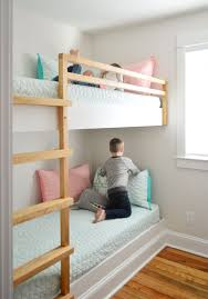 diy built in wall to wall bunk beds with children