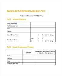 Performance Appraisal Sample Form Employment Form Templates Employee Appraisal Template Free