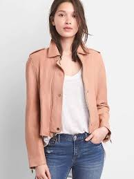 gap womens cropped leather jacket soft pink