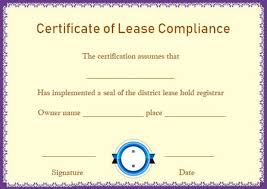 Certificate Of Compliance Template Word Certificate Of Compliance Leasehold Template Printable
