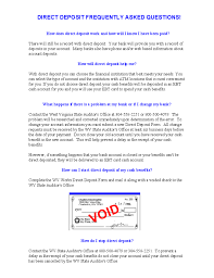 Direct Deposit Form - West Virginia Free Download