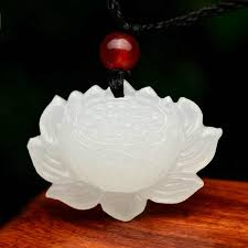 <b>Drop shipping XinJiang</b> White Jade Pendant Necklace Jade Lotus ...