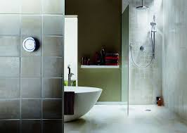bathroom with walk in shower and freestanding bath