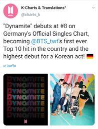 BTS]Dynamite เดบิวต์อันดับ8  ชาร์ตหลักของประเทศเยอรมันซึ่งเป็นตลาดเพลงใหญ่เป็นอันดับ3ของโลกและเป็นครั้งแรกของศิลปินเกาหล  - Pantip
