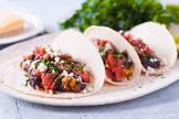 black bean   corn tacos with radish salsa   feta