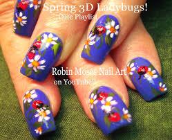 Ladybug Nails! 3d Nail Design using Gel spring nail art - YouTube