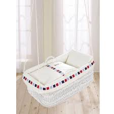 Mod Squares Hanging Bassinet for Baby | Wicker | White | Rocking