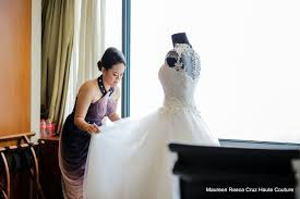 A Brides Design A Bride Admiring Her Own Gown Dress Designed By Maureen