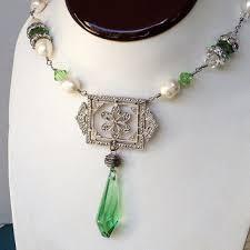 vintage brooch necklace victorian necklace pearl necklace vin