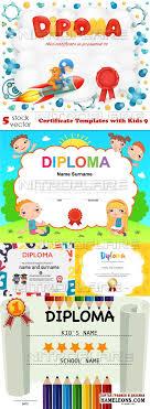 Дипломы и сертификаты в векторе скачать бесплатно Дипломы и сертификаты для детей векторный клипарт certificate templates kids 9