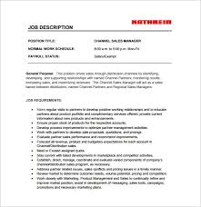 Sales Manager Job Description Template 11 Free Word Pdf Format