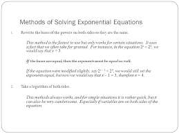 methods of solving exponential equations 1