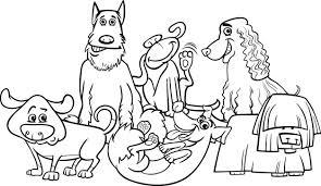Cartoon Honden Groep Kleurplaat Vector Premium Download