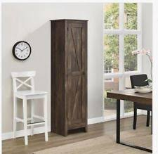 wood storage cabinet.  Wood Storage Cabinet Rustic Farmhouse Kitchen Pantry Wood Brown Slim Office  Utility And W