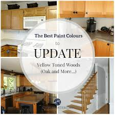 the best paint colours and ideas to update yellow toned oak wood cabinets