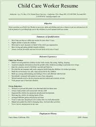 Resume Examples For Child Care Examples Of Resumes
